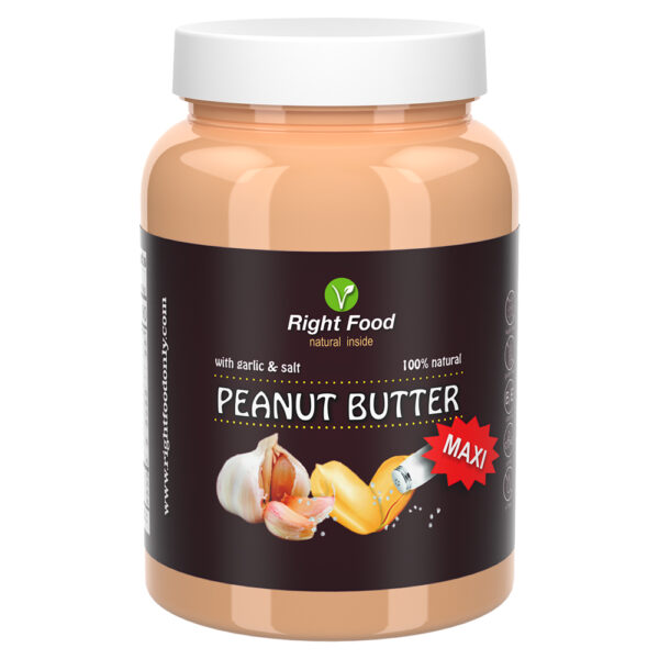 Peanut butter with garlic RAW 1kg   Cold Pressed Natural Spread Sugar Free Vegan Protein   100% superfood (peanut butter with garlic & salt)
