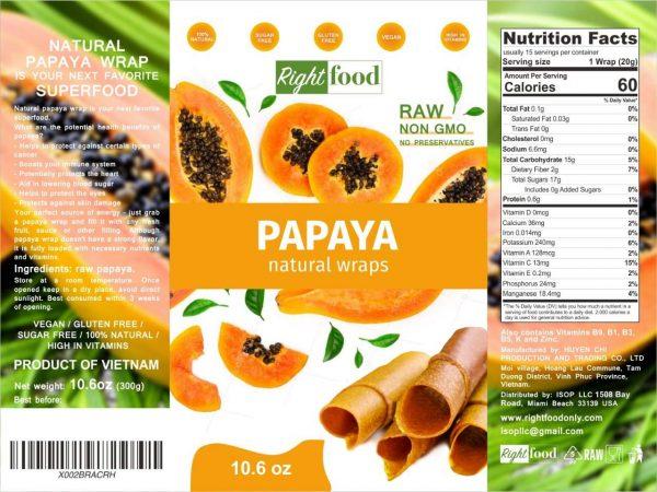 RAW Vegan Fruit Leather 10.6 oz (300 g) - Papaya Dehydrated Sheets 1
